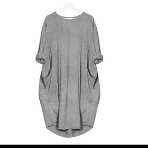 Grey sleeves baggy long top cum mini dress